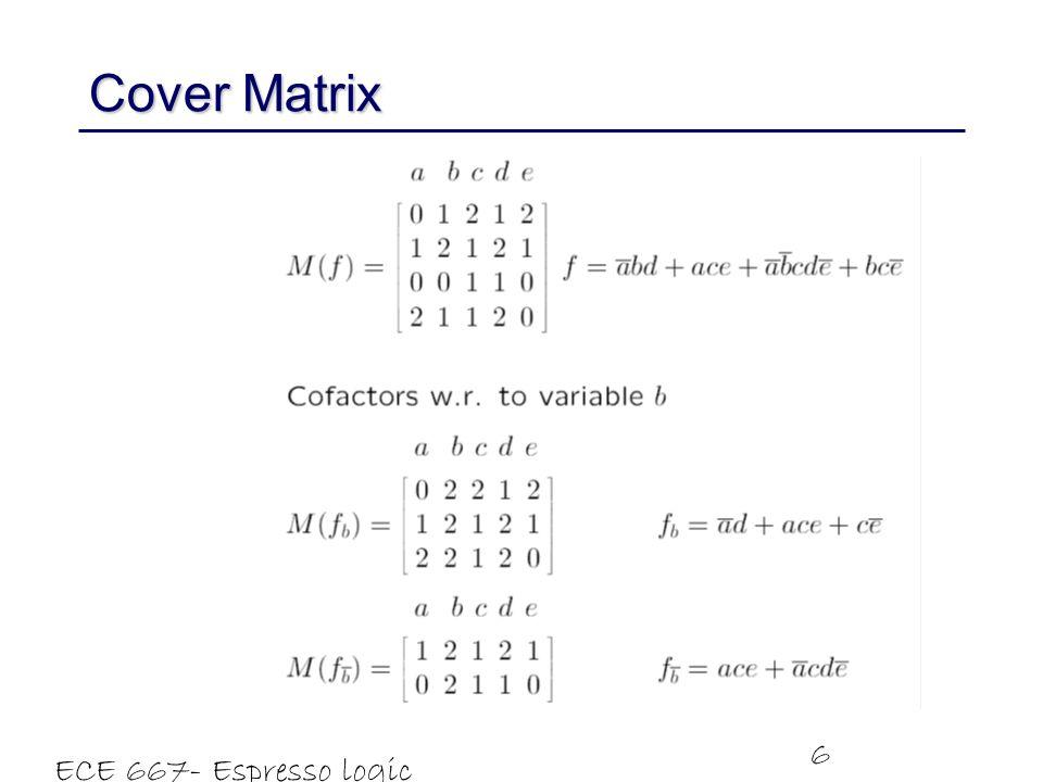 ECE 667- Espresso logic minimizer 6 Cover Matrix