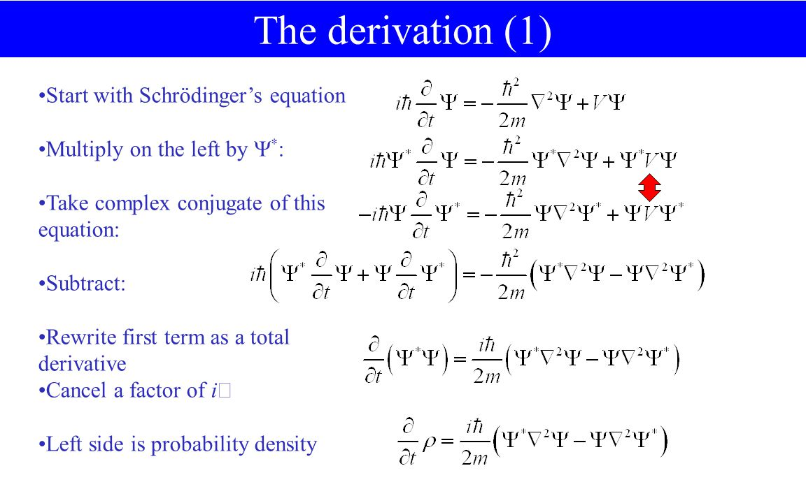 Start with Schrödinger's equation Multiply on the left by  * : Take complex conjugate of this equation: Subtract: Rewrite first term as a total derivative Cancel a factor of i  Left side is probability density The derivation (1)