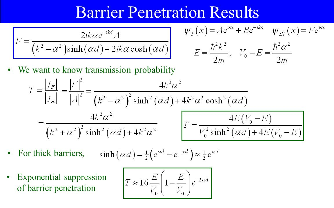Barrier Penetration Results We want to know transmission probability For thick barriers, Exponential suppression of barrier penetration