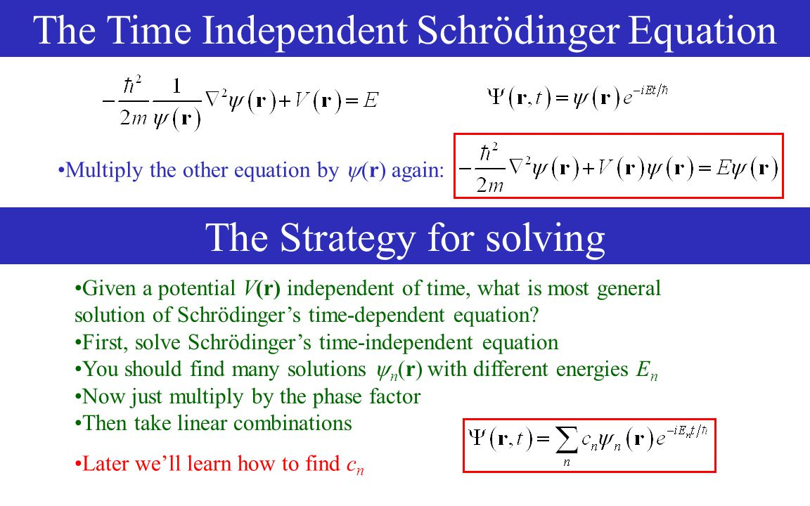 Given a potential V(r) independent of time, what is most general solution of Schrödinger's time-dependent equation.