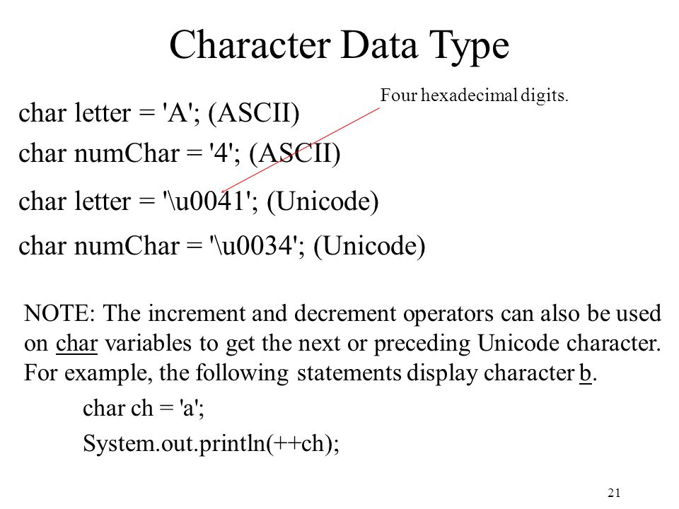21 Character Data Type char letter = A ; (ASCII) char numChar = 4 ; (ASCII) char letter = \u0041 ; (Unicode) char numChar = \u0034 ; (Unicode) Four hexadecimal digits.