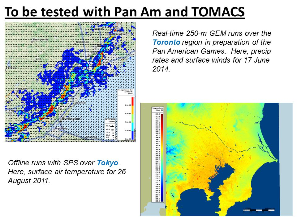 To be tested with Pan Am and TOMACS Real-time 250-m GEM runs over the Toronto region in preparation of the Pan American Games.