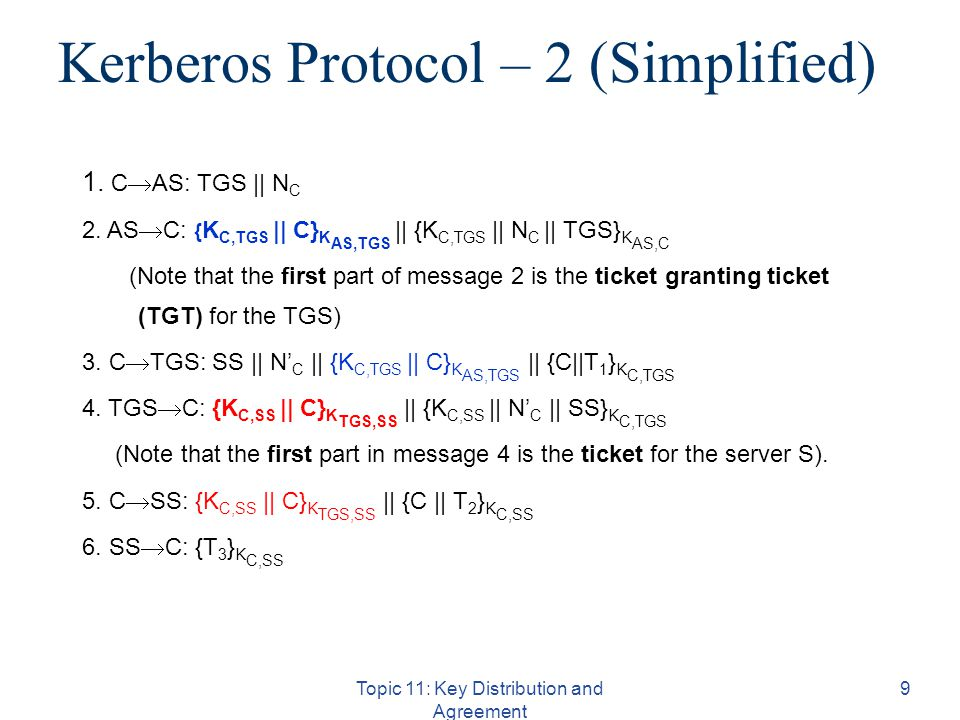 Kerberos Protocol – 2 (Simplified) Topic 11: Key Distribution and Agreement 9 1.