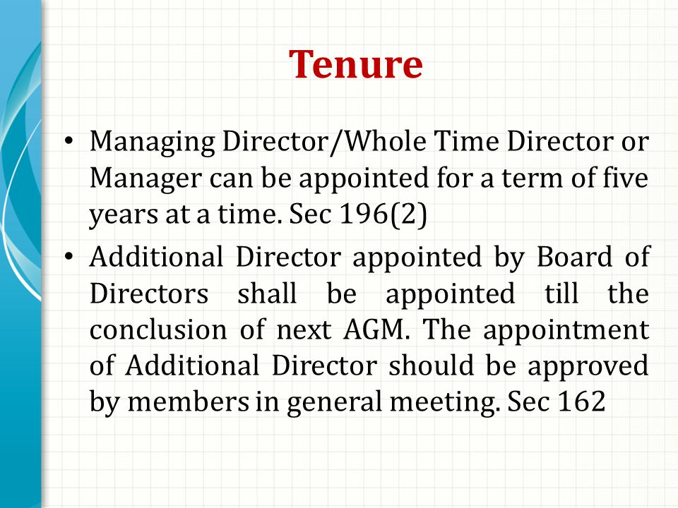 Tenure Managing Director/Whole Time Director or Manager can be appointed for a term of five years at a time.