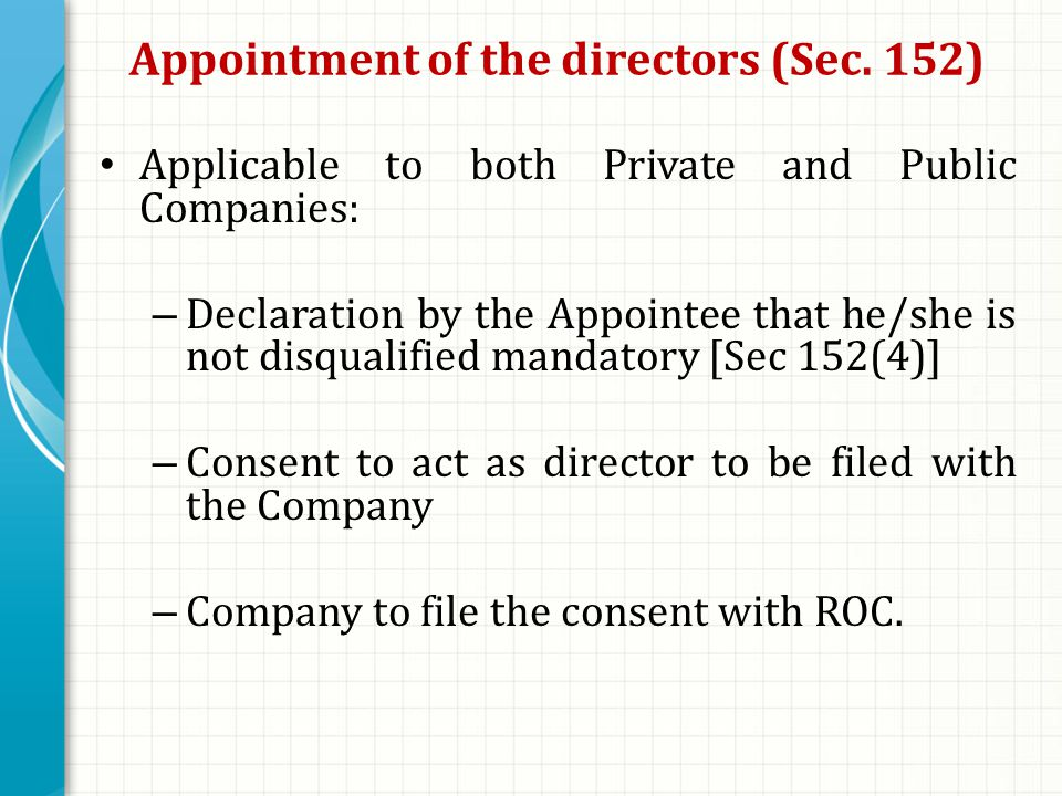Appointment of the directors (Sec.