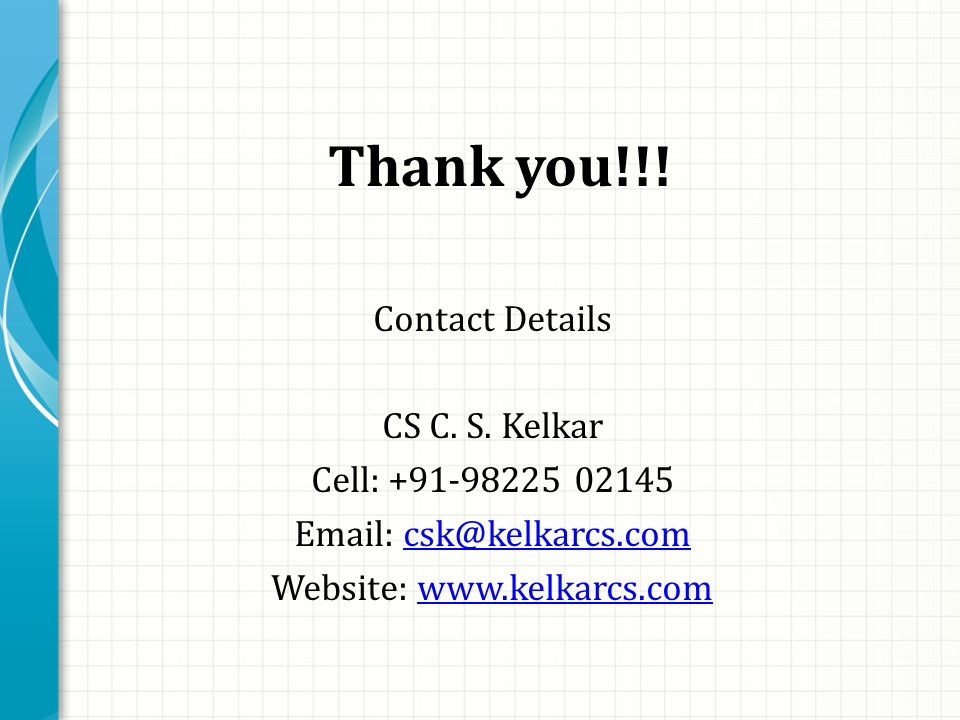 Thank you!!. Contact Details CS C. S.