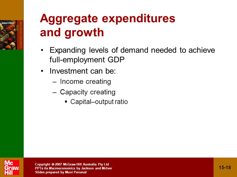 Copyright  2007 McGraw-Hill Australia Pty Ltd PPTs t/a Macroeconomics by Jackson and McIver Slides prepared by Muni Perumal Aggregate expenditures and growth Expanding levels of demand needed to achieve full-employment GDP Investment can be: –Income creating –Capacity creating  Capital–output ratio
