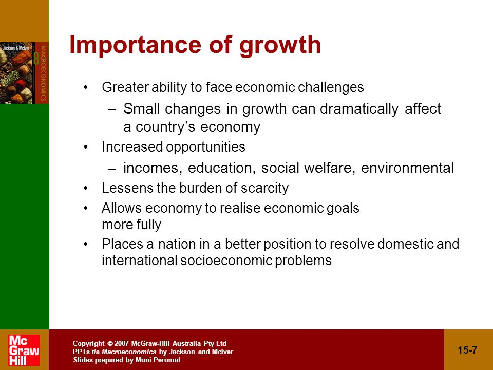 Copyright  2007 McGraw-Hill Australia Pty Ltd PPTs t/a Macroeconomics by Jackson and McIver Slides prepared by Muni Perumal 15-7 Importance of growth Greater ability to face economic challenges –Small changes in growth can dramatically affect a country's economy Increased opportunities –incomes, education, social welfare, environmental Lessens the burden of scarcity Allows economy to realise economic goals more fully Places a nation in a better position to resolve domestic and international socioeconomic problems