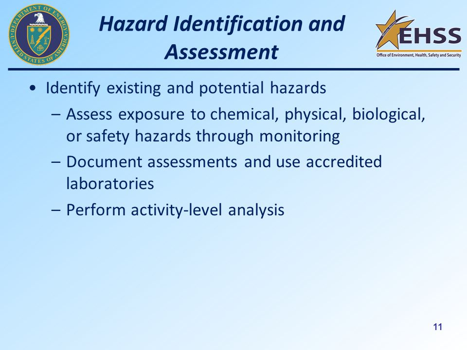 11 Hazard Identification and Assessment Identify existing and potential hazards –Assess exposure to chemical, physical, biological, or safety hazards through monitoring –Document assessments and use accredited laboratories –Perform activity-level analysis
