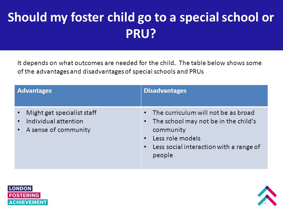 Should my foster child go to a special school or PRU.