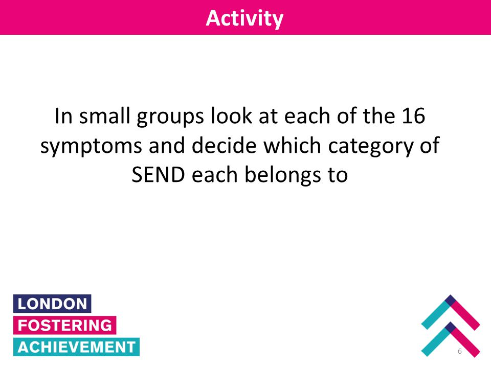 Enfield Activity 6 In small groups look at each of the 16 symptoms and decide which category of SEND each belongs to