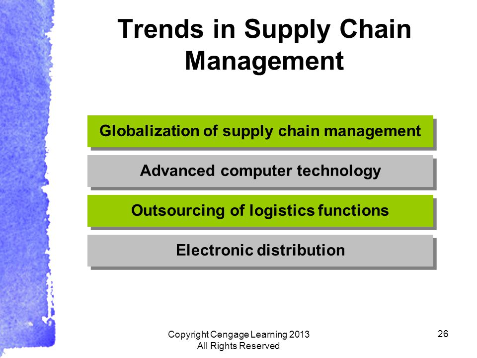 26 Trends in Supply Chain Management Electronic distribution Outsourcing of logistics functions Advanced computer technology Globalization of supply chain management Copyright Cengage Learning 2013 All Rights Reserved