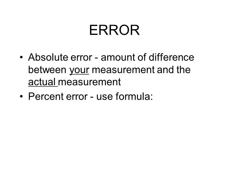 ERROR Absolute error - amount Volume Of A Cylinder Formula