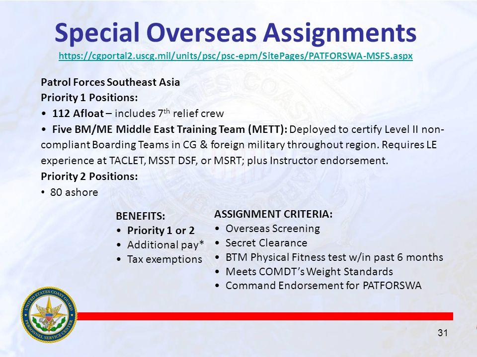 Overseas assignments