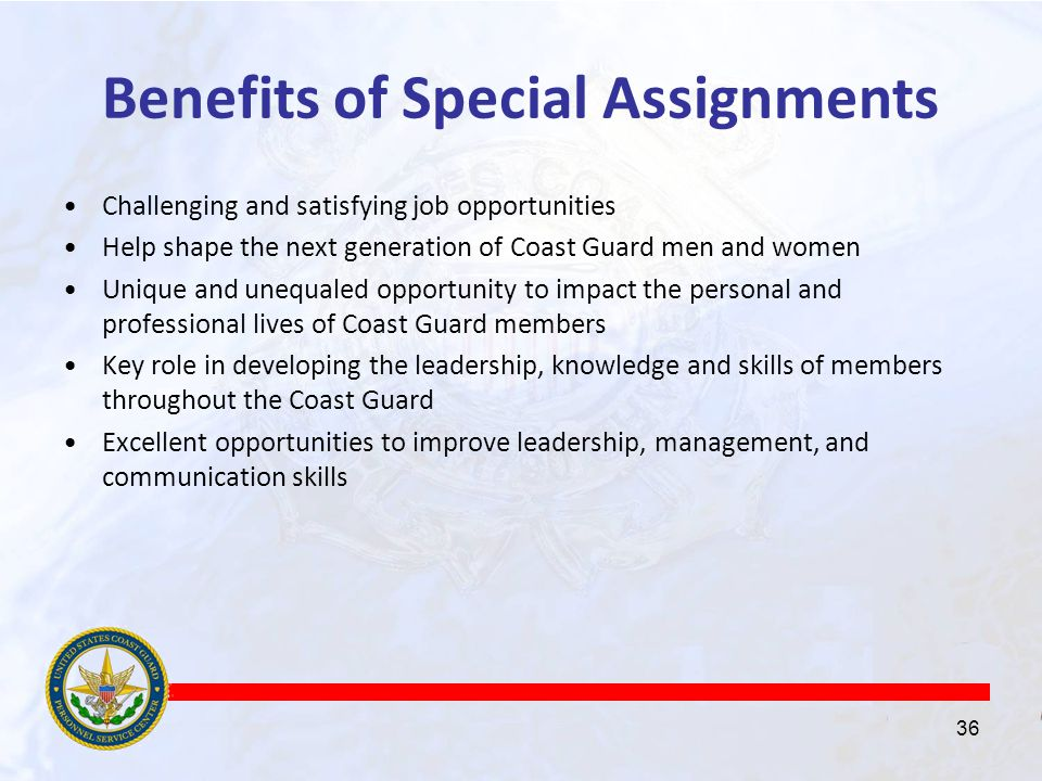 Coast guard special assignments