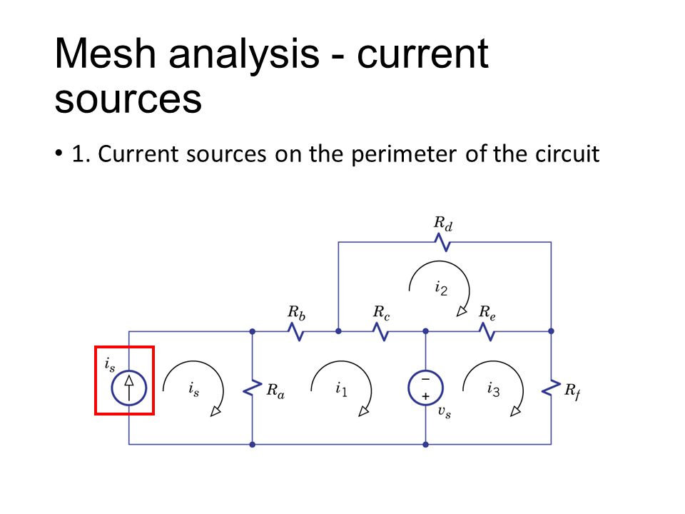 Mesh analysis - current sources 1. Current sources on the perimeter of the circuit
