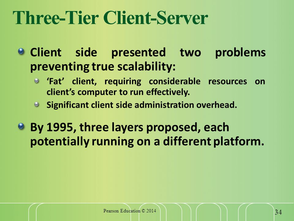 Three-Tier Client-Server Client side presented two problems preventing true scalability: 'Fat' client, requiring considerable resources on client's computer to run effectively.