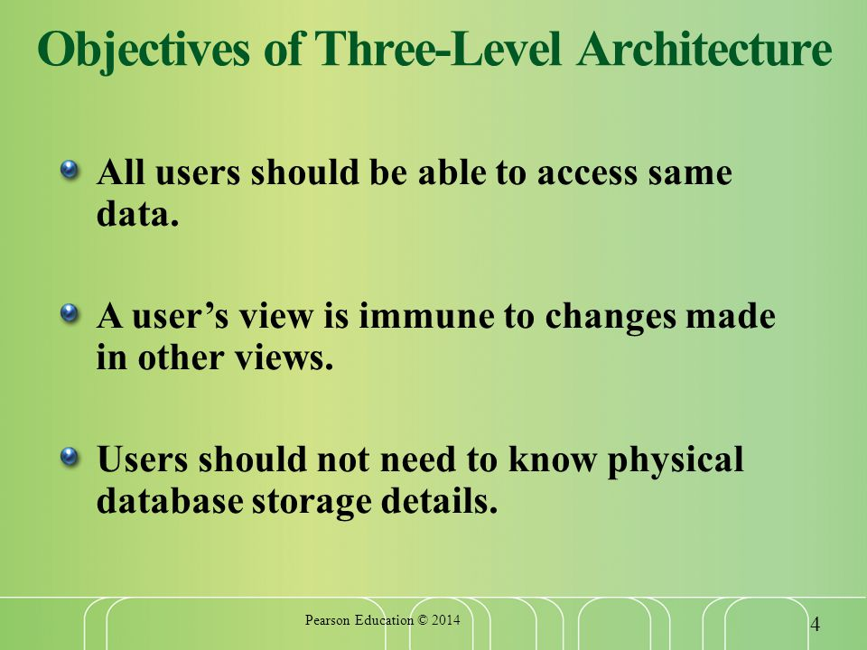 Objectives of Three-Level Architecture All users should be able to access same data.