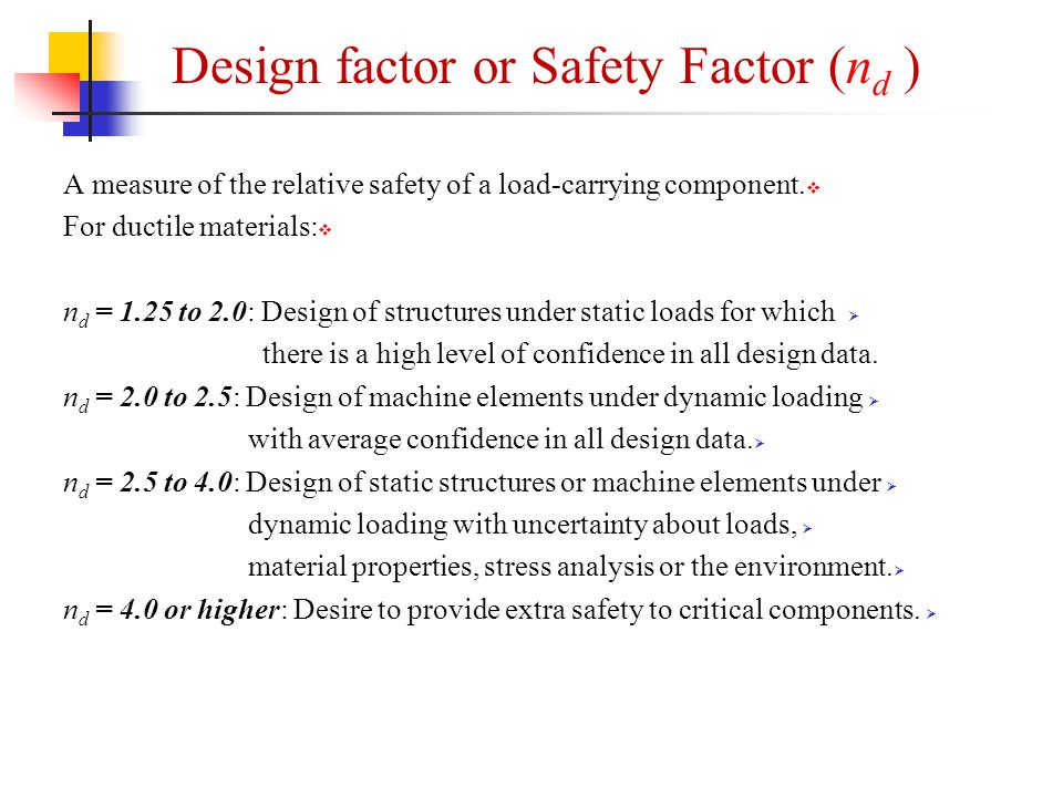  A measure of the relative safety of a load-carrying component.