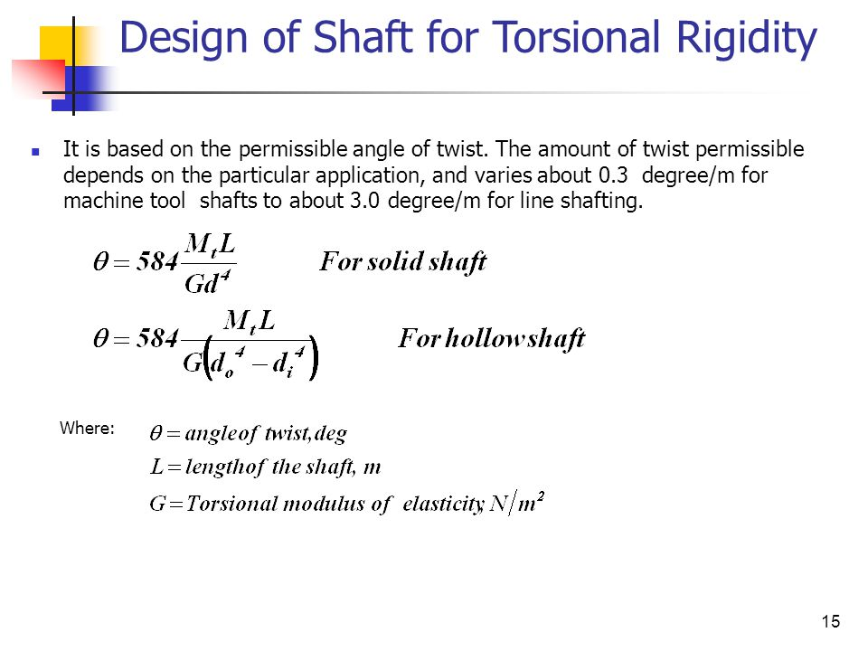 15 Design of Shaft for Torsional Rigidity It is based on the permissible angle of twist.