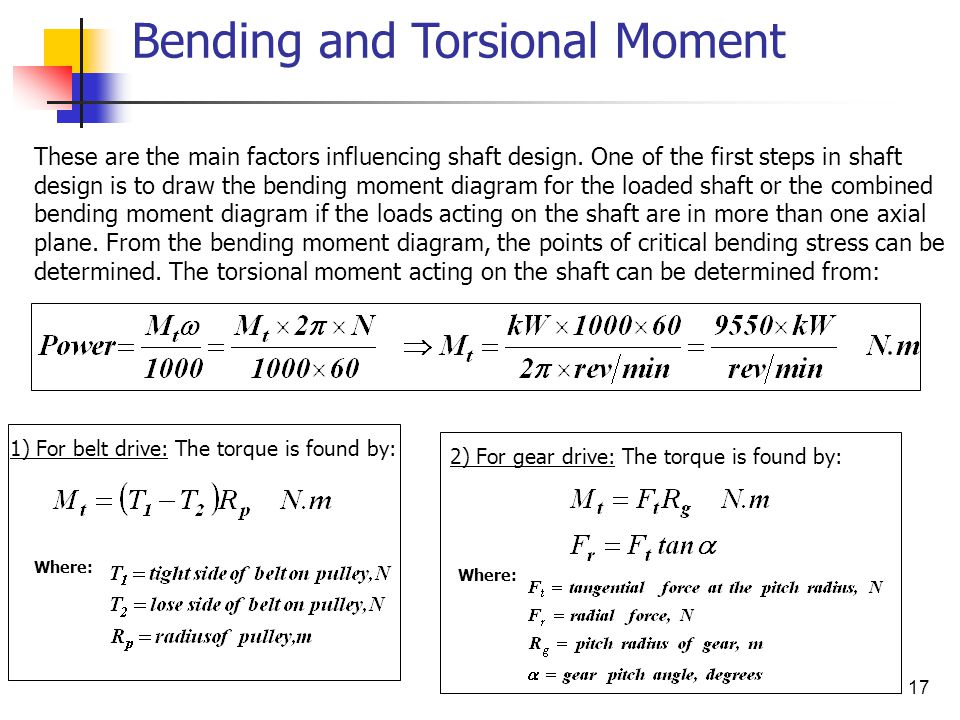 17 Bending and Torsional Moment These are the main factors influencing shaft design.
