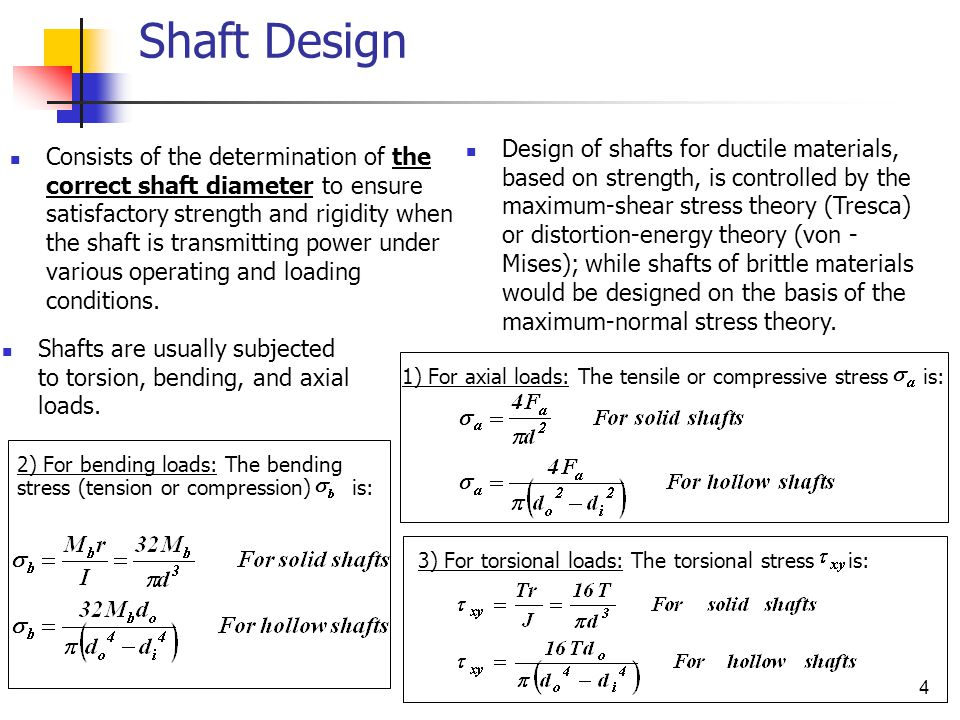 4 Shaft Design Consists of the determination of the correct shaft diameter to ensure satisfactory strength and rigidity when the shaft is transmitting power under various operating and loading conditions.