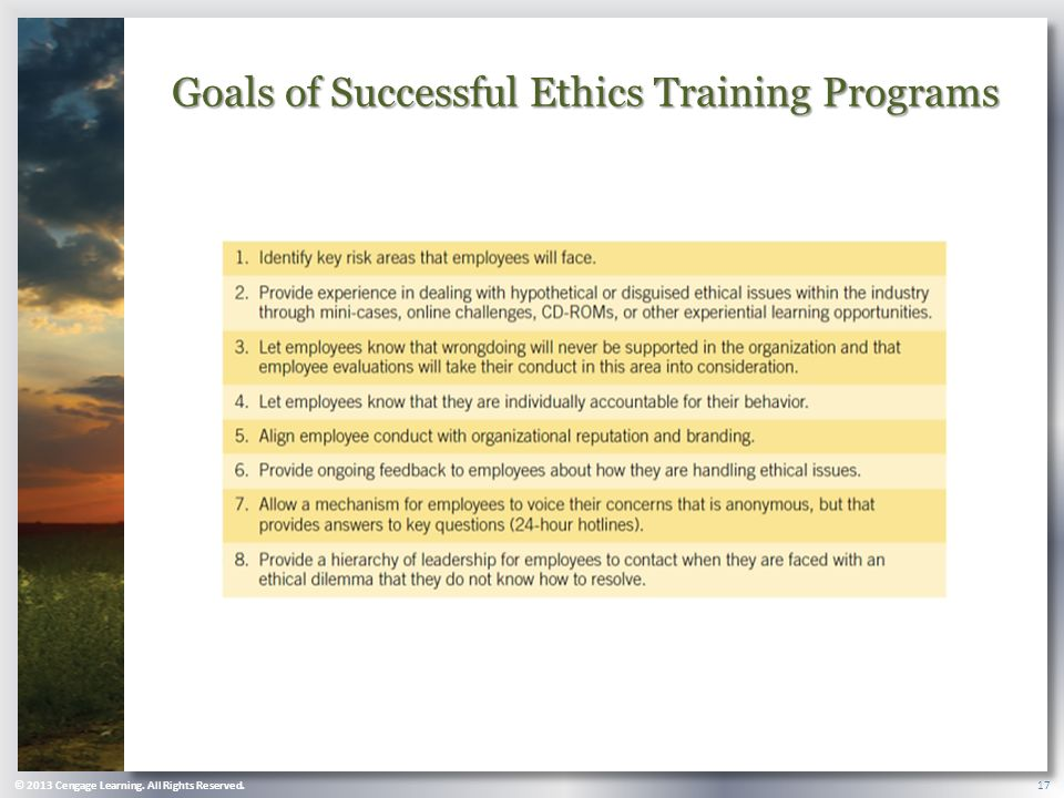 © 2013 Cengage Learning. All Rights Reserved. 17 Goals of Successful Ethics Training Programs
