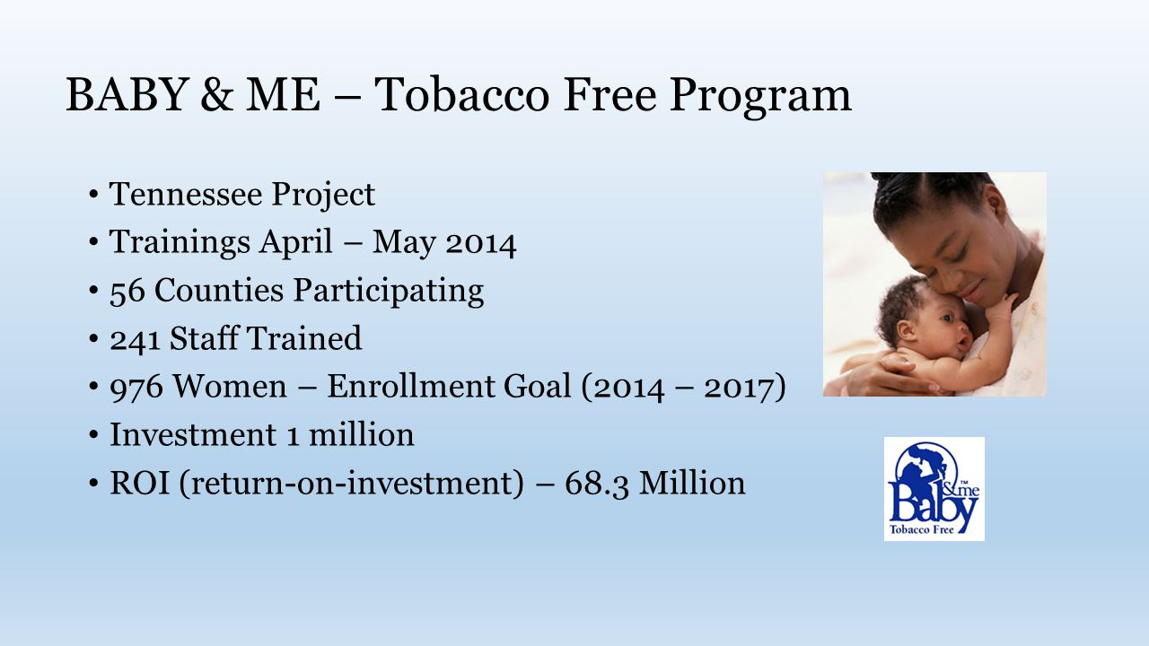 BABY & ME – Tobacco Free Program Tennessee Project Trainings April – May Counties Participating 241 Staff Trained 976 Women – Enrollment Goal (2014 – 2017) Investment 1 million ROI (return-on-investment) – 68.3 Million