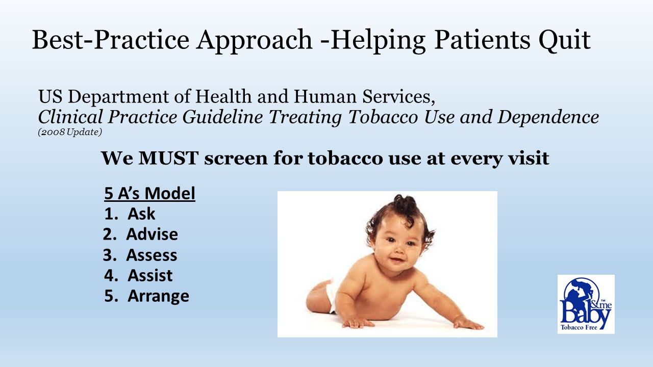 Best-Practice Approach -Helping Patients Quit US Department of Health and Human Services, Clinical Practice Guideline Treating Tobacco Use and Dependence (2008 Update) We MUST screen for tobacco use at every visit 5 A's Model 1.