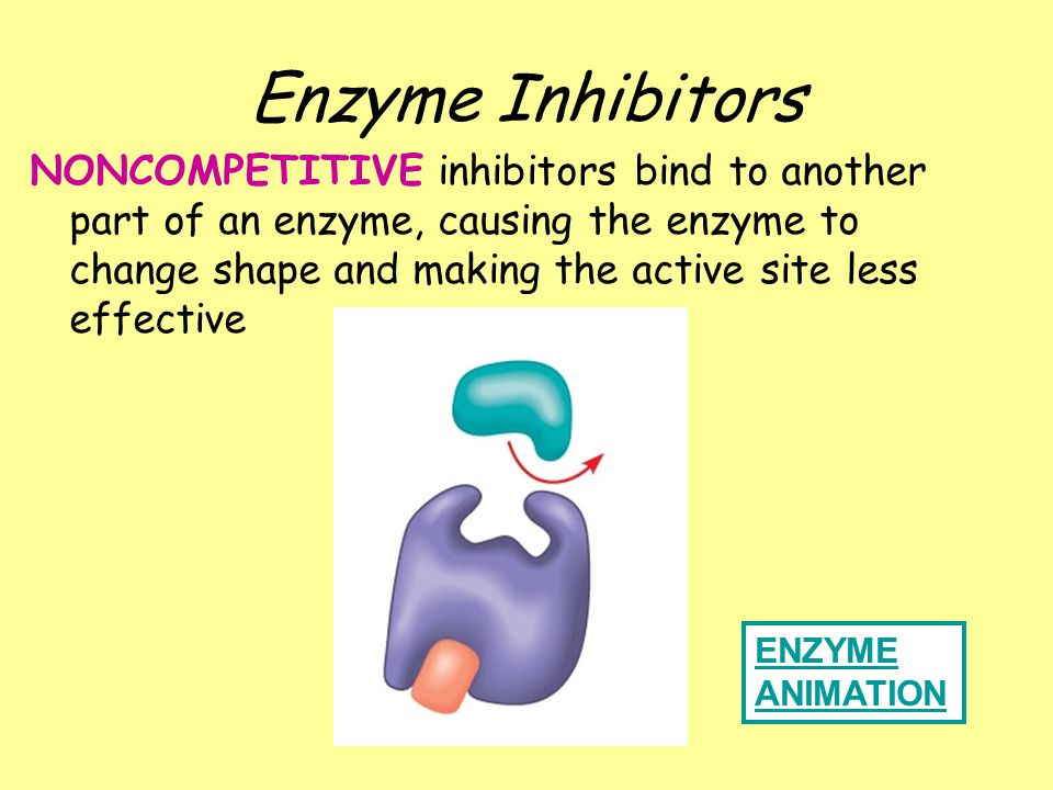 COMPETITIVE inhibitor REVERSIBLE; Mimics substrate and competes with substrate for active site on enzyme ENZYME ANIMATION Enzyme Inhibitors
