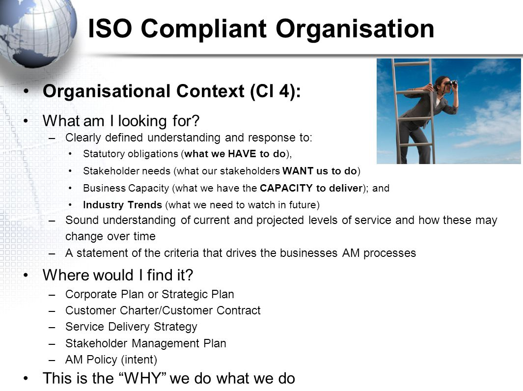 ISO Compliant Organisation Organisational Context (Cl 4): What am I looking for.