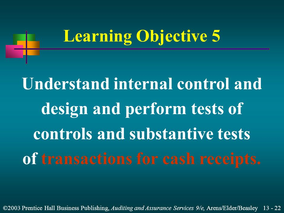 ©2003 Prentice Hall Business Publishing, Auditing and Assurance Services 9/e, Arens/Elder/Beasley Learning Objective 5 Understand internal control and design and perform tests of controls and substantive tests of transactions for cash receipts.