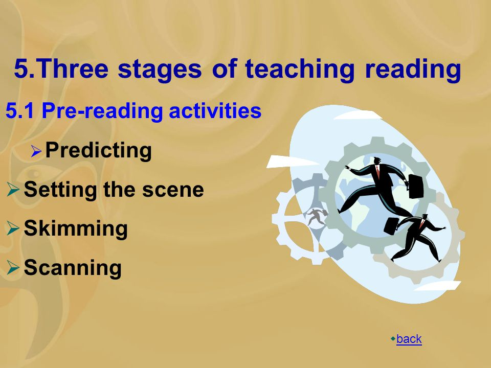 5.Three stages of teaching reading 5.1 Pre-reading activities  Predicting  Setting the scene  Skimming  Scanning  back back