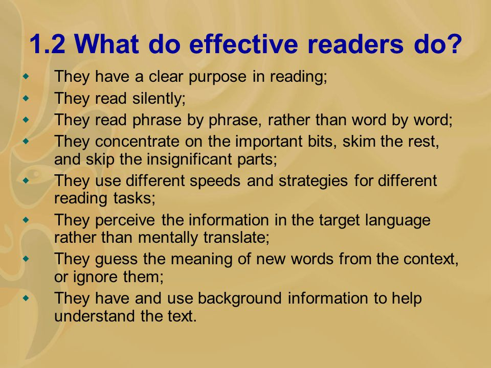 1.2 What do effective readers do.