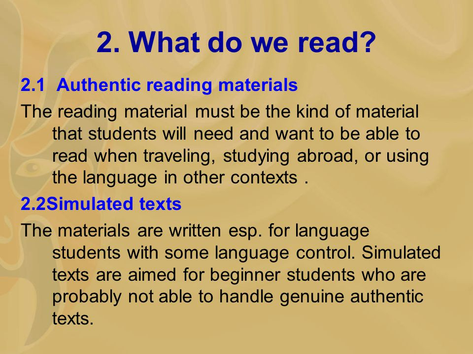 2. What do we read.