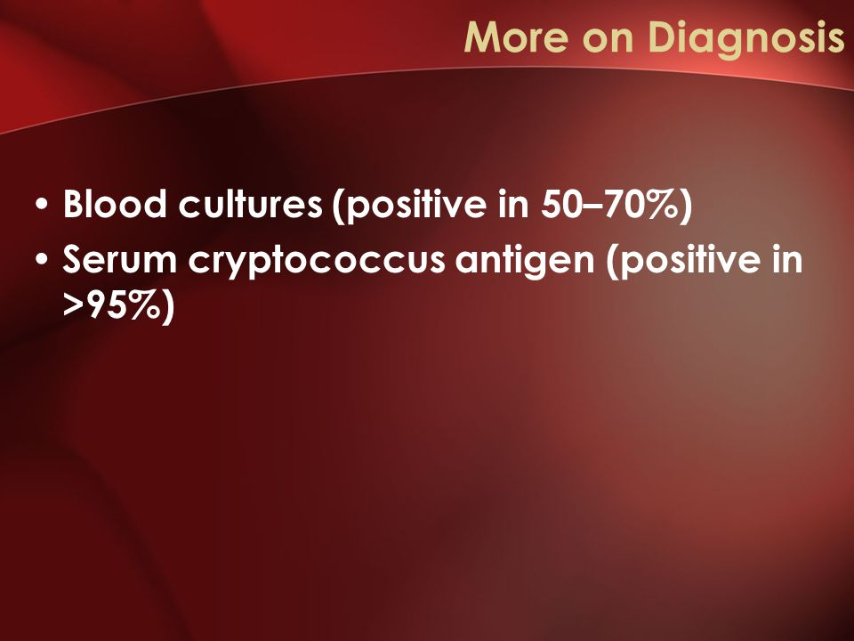 More on Diagnosis Blood cultures (positive in 50–70%) Serum cryptococcus antigen (positive in >95%)
