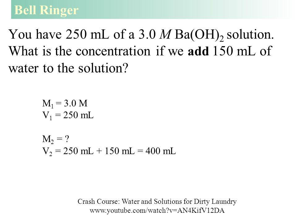 You have 250 mL of a 3.0 M Ba(OH) 2 solution.