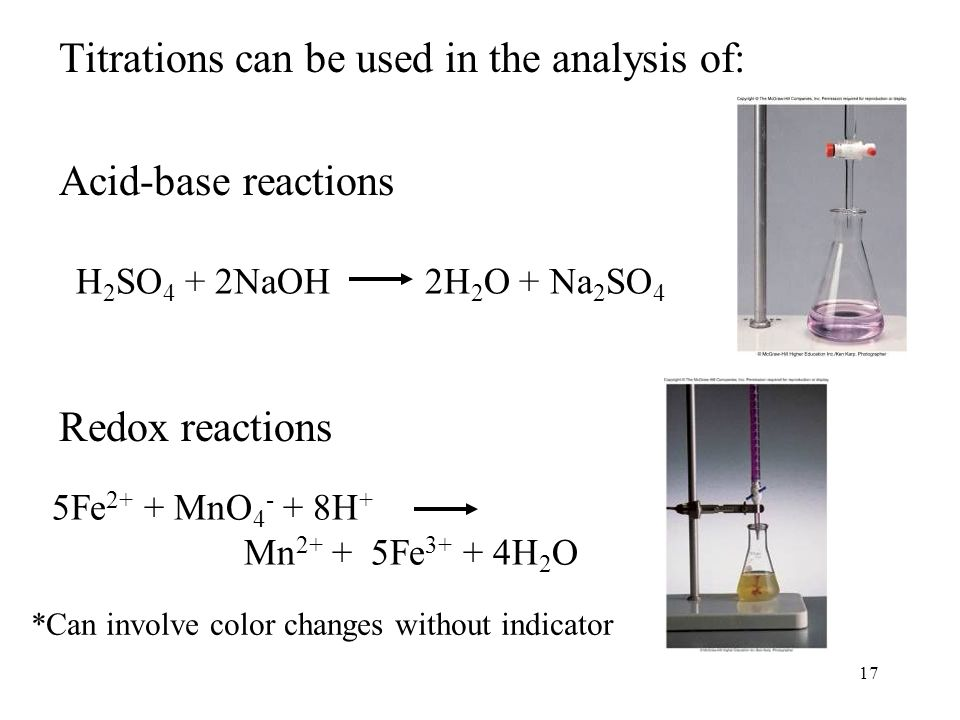 17 Titrations can be used in the analysis of: Acid-base reactions Redox reactions H 2 SO 4 + 2NaOH 2H 2 O + Na 2 SO 4 5Fe 2+ + MnO H + Mn Fe H 2 O *Can involve color changes without indicator