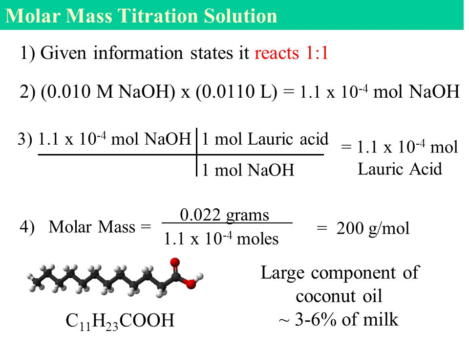 Molar Mass Titration Solution 1) Given information states it reacts 1:1 3) 1.1 x mol NaOH 1 mol Lauric acid 4) Molar Mass = = 200 g/mol 1 mol NaOH = 1.1 x mol Lauric Acid 2) (0.010 M NaOH) x ( L) = 1.1 x mol NaOH 1.1 x moles grams Large component of coconut oil ~ 3-6% of milk C 11 H 23 COOH