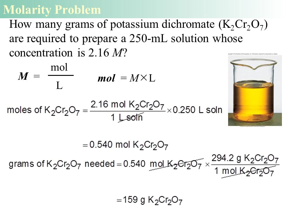 How many grams of potassium dichromate (K 2 Cr 2 O 7 ) are required to prepare a 250-mL solution whose concentration is 2.16 M.