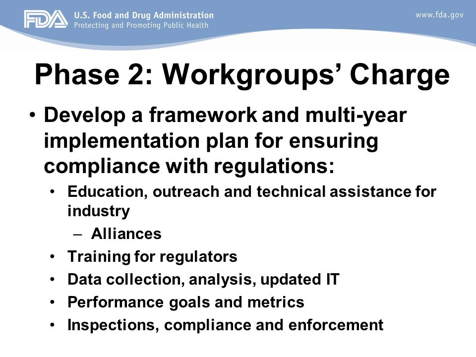Phase 2: Workgroups' Charge Develop a framework and multi-year implementation plan for ensuring compliance with regulations: Education, outreach and technical assistance for industry –Alliances Training for regulators Data collection, analysis, updated IT Performance goals and metrics Inspections, compliance and enforcement