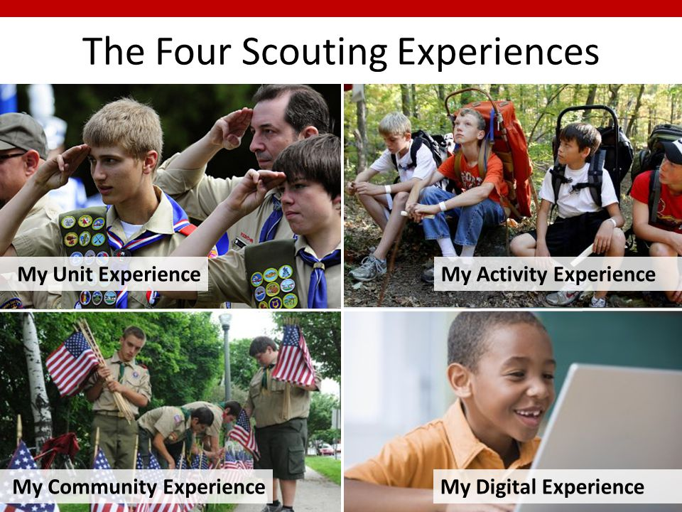 My Unit ExperienceMy Activity Experience My Community ExperienceMy Digital Experience The Four Scouting Experiences