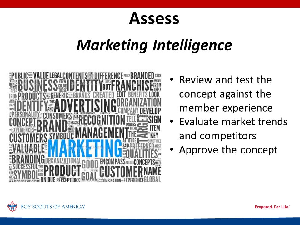 Assess Review and test the concept against the member experience Evaluate market trends and competitors Approve the concept Marketing Intelligence