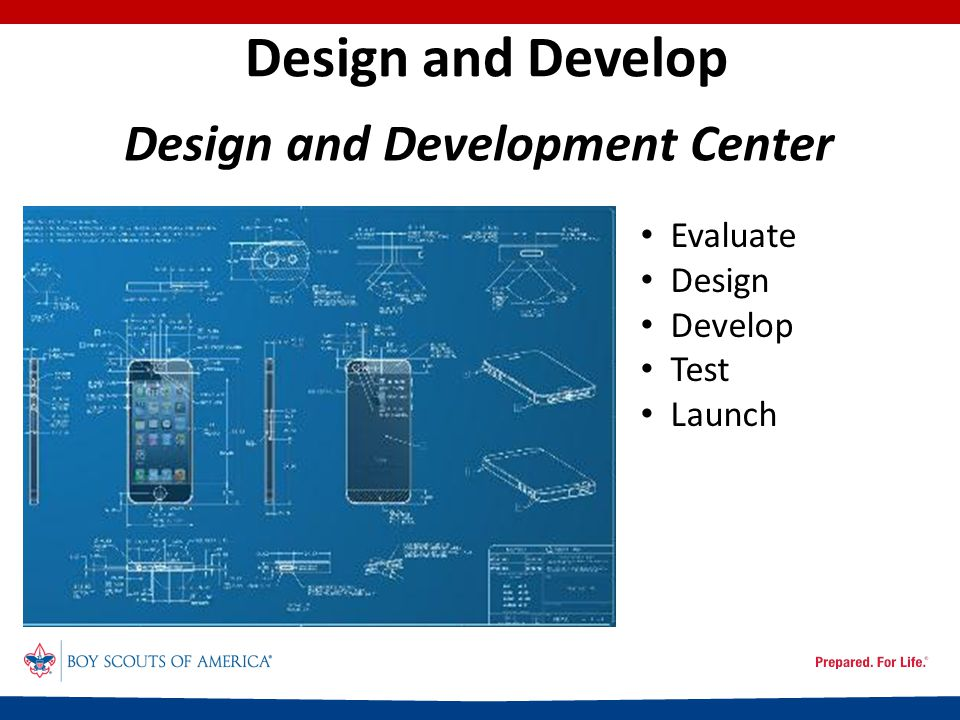 Design and Develop Evaluate Design Develop Test Launch Design and Development Center