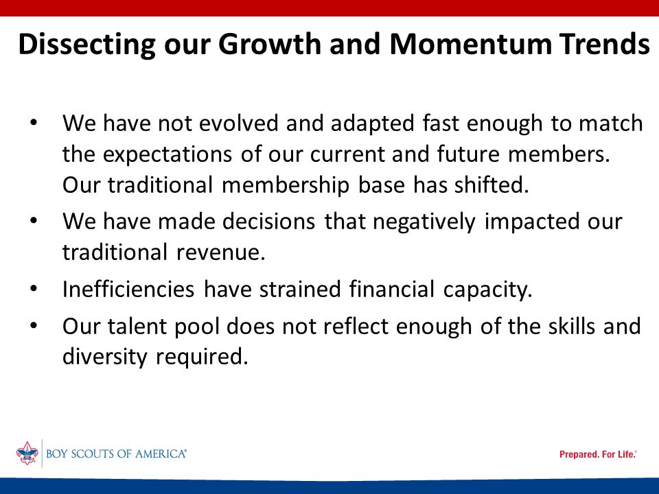 Dissecting our Growth and Momentum Trends We have not evolved and adapted fast enough to match the expectations of our current and future members.