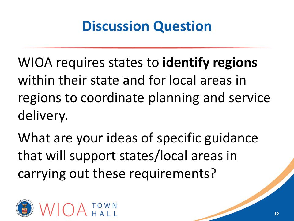 Discussion Question WIOA requires states to identify regions within their state and for local areas in regions to coordinate planning and service delivery.