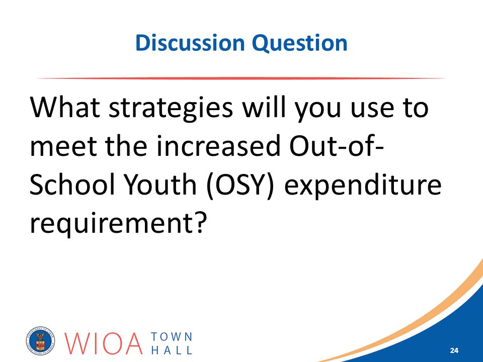 Discussion Question What strategies will you use to meet the increased Out-of- School Youth (OSY) expenditure requirement.