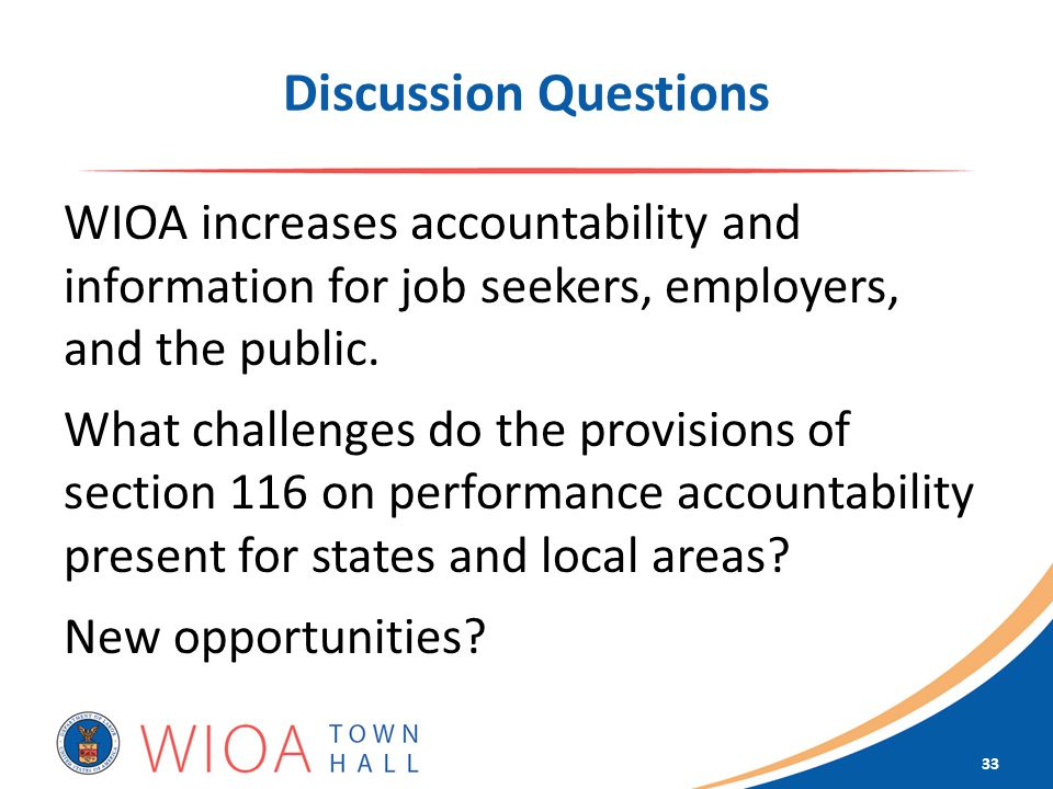 Discussion Questions WIOA increases accountability and information for job seekers, employers, and the public.