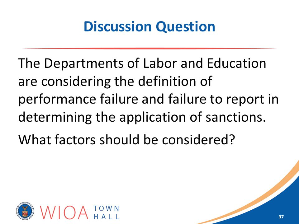Discussion Question The Departments of Labor and Education are considering the definition of performance failure and failure to report in determining the application of sanctions.