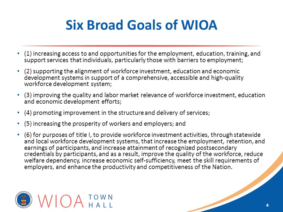 Six Broad Goals of WIOA (1) increasing access to and opportunities for the employment, education, training, and support services that individuals, particularly those with barriers to employment; (2) supporting the alignment of workforce investment, education and economic development systems in support of a comprehensive, accessible and high-quality workforce development system; (3) improving the quality and labor market relevance of workforce investment, education and economic development efforts; (4) promoting improvement in the structure and delivery of services; (5) increasing the prosperity of workers and employers; and (6) for purposes of title I, to provide workforce investment activities, through statewide and local workforce development systems, that increase the employment, retention, and earnings of participants, and increase attainment of recognized postsecondary credentials by participants, and as a result, improve the quality of the workforce, reduce welfare dependency, increase economic self-sufficiency, meet the skill requirements of employers, and enhance the productivity and competitiveness of the Nation.